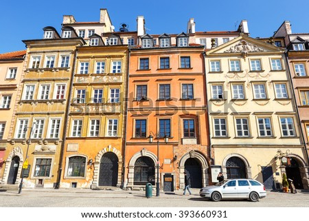 WARSAW, POLAND, 13 march 2016: Old town square in Warsaw in a sunny day. Warsaw is the capital of Poland
