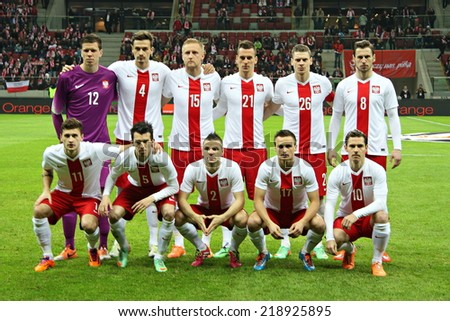 WARSAW, POLAND - MARCH 5, 2014: Poland national football team before the friendly football match between Poland and Scotland. Final result: 0:1  - stock photo