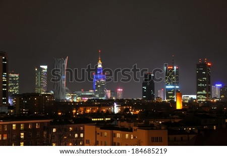 Warsaw, Poland � March 26, 2014: View of skyscrapers of Warsaw City