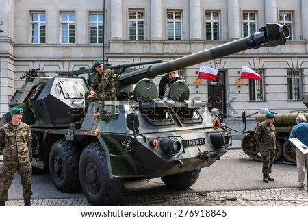 WARSAW, POLAND - MAY 08, 2015: Dana 152 gun howitzer artillery system, self propelled vehicle. 70th Anniversary of End of WW II - stock photo