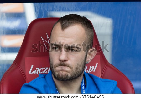 WARSAW, POLAND - MAY 02, 2015: Gergo Lovrencsics, Lech Poznan winger during Polish Cup final football match between Legia Warsaw and Lech Poznan in Warsaw. - stock photo