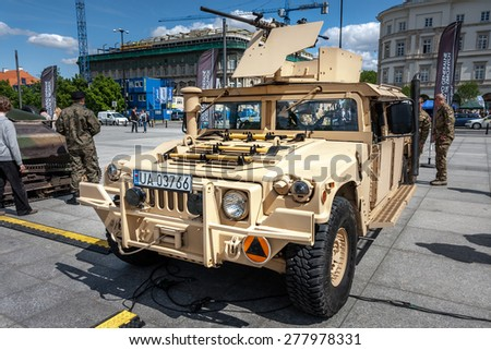 WARSAW, POLAND - MAY 08, 2015: Humvee HMMWV light armored  m1165 expanded capacity general purpose vehicle. 70th anniversary of end of World War II, public celebrations - stock photo