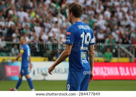 WARSAW, POLAND - MAY 09, 2015: Kasper Hamalainen, Finnish and Lech Poznan midfielder during Polish League football match between Legia Warsaw and Lech Poznan in Warsaw. - stock photo