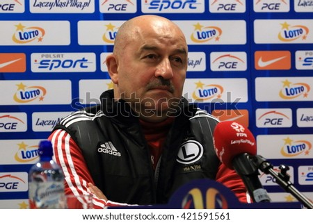 WARSAW, POLAND - MAY 1, 2016. Legia Warsaw manager Stanislav Cherchesov at the press conference before Polish Cup Final Legia Warsaw vs Lech Poznan. - stock photo