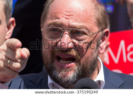 WARSAW, POLAND - MAY 1, 2014: Martin Schulz, German politician and President of the European Parliament during the International Workers Day (Labor Day), on May 1, 2014 in Warsaw, Poland. - stock photo