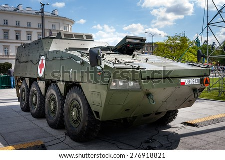 WARSAW, POLAND - MAY 08, 2015: Medical Evacuation Vehicle KTO ROSOMAK WEM,  Wolverine, front view. 70th Anniversary of End of World War II - stock photo
