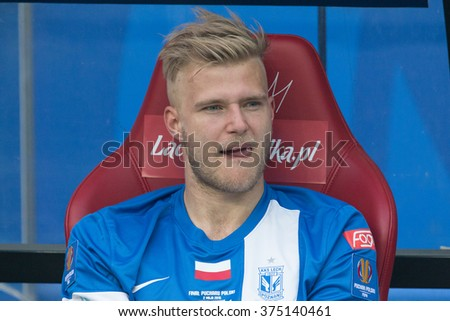 WARSAW, POLAND - MAY 02, 2015: Paulus Arajuuri, Lech Poznan defender during Polish Cup final football match between Legia Warsaw and Lech Poznan in Warsaw. - stock photo