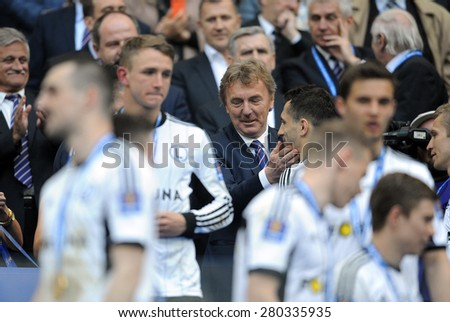 WARSAW, POLAND - MAY 02, 2015: Polish Football League Cup Final Legia Warsaw - Lech Poznan, o/p: Zbigniew Boniek PZPN head of Polish Football Federation