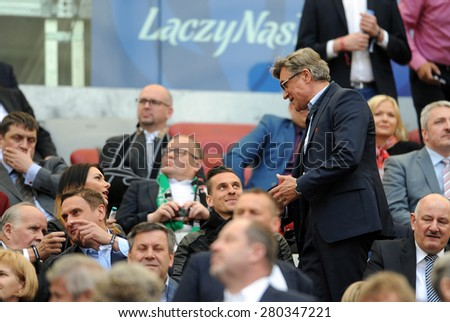 WARSAW, POLAND - MAY 02, 2015: Polish Football League Cup Final Legia Warsaw - Lech Poznan, o/p: Adam Nawalka coach of National Football Team, Arkadiusz Milik Ajax Amsterdam player