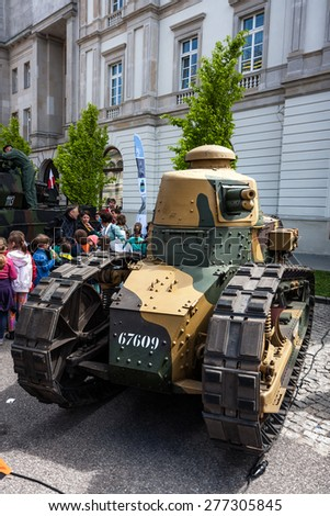 WARSAW, POLAND - MAY 08, 2015: Renault FT 17 light tank, tracked armoured vehicle, used mostly during the World War I.  Public celebrations of 70th Anniversary of End of WW II - stock photo