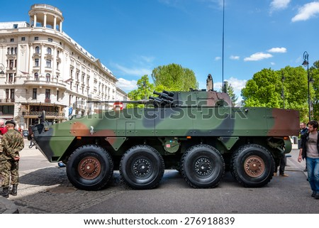 WARSAW, POLAND - MAY 08, 2015: Rosomak - Infantry fighting vehicle, side view. 70th Anniversary of End of World War II - stock photo