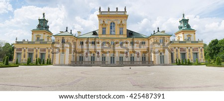 WARSAW, POLAND - MAY 17: Royal Wilanow Palace or Wilanowski Palace with park in Warsaw, Poland on May 17, 2016 - stock photo