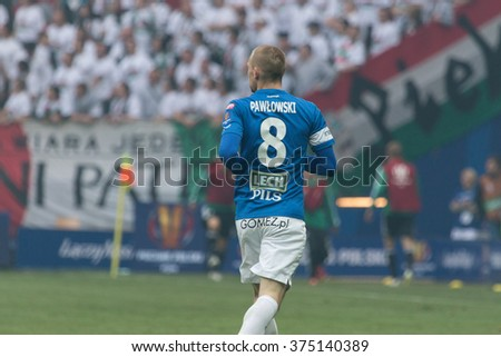 WARSAW, POLAND - MAY 02, 2015: Szymon Pawlowski, Lech Poznan midfielder during Polish Cup final football match between Legia Warsaw and Lech Poznan in Warsaw. - stock photo