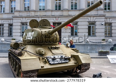WARSAW, POLAND - MAY 08, 2015: T-34 85 Soviet tank, version with larger 85mm gun. Most-produced tank of the World War II. Public celebrations. End of WW II 70th Anniversary - stock photo