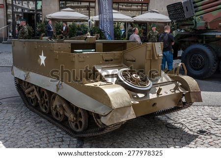 WARSAW, POLAND - MAY 08, 2015: Universal Carrier T 16, Bren Gun Carrier, light armored tracked vehicle, side view. Public celebrations. End of WW II 70th Anniversary - stock photo