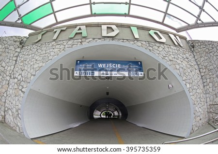 WARSAW, POLAND - MAY 27,2015: Warszawa Stadion railway station, located in the Praga Poludnie district, close to National Stadium. Station was renovated shortly before Euro 2012 football championships - stock photo