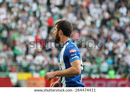 WARSAW, POLAND - MAY 09, 2015: Zaur Sadaev, Lech Poznan striker during Polish League football match between Legia Warsaw and Lech Poznan in Warsaw.