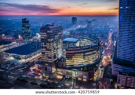 WARSAW, POLAND - NOVEMBER 3, 2015. Aerial view from Palace of Culture and Science with Golden Terraces shopping centre and Warszawa Centralna railway station in Warsaw - stock photo