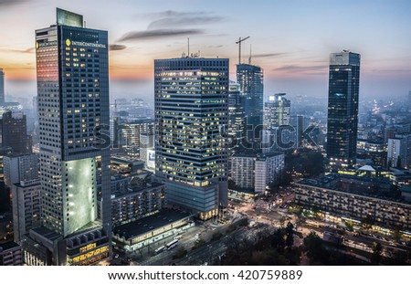 WARSAW, POLAND - NOVEMBER 3, 2015. Aerial view with InterContinental Hotel, Warsaw Financial Center, Spektrum Tower, Q22 and Cosmopolitan building in Warsaw - stock photo