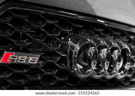 WARSAW, POLAND - NOVEMBER 21, 2016: Audi logo close up. Audi is a German automobile manufacturer. The brand is used for luxury automobiles and sport cars.