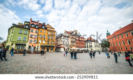 Warsaw, Poland - november 11, 2014: Castle Square  in Warsaw, Poland - stock photo