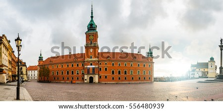 WARSAW, POLAND - NOVEMBER 20 2016: Panorama of Royal Castle, is castle residency and was official residence of Polish monarchs. It is located in Castle Square, at entrance to Warsaw Old Town.