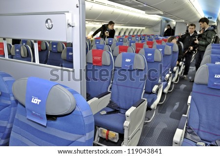 WARSAW, POLAND - NOVEMBER 16: The interior of the new Boeing 787 Dreamliner - First Dreamliner purchased by Polish national carrier LOT - on November 16, 2012 in Warsaw, Poland.