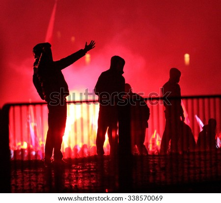 WARSAW, POLAND - NOVEMBER 11,2014 : The riots in the streets of Warsaw during the celebration of Independence Day on November 11, 2014 in Warsaw, Poland. - stock photo