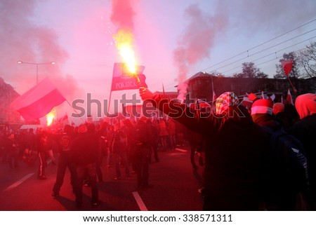 WARSAW, POLAND - NOVEMBER 11, 2014 : The riots in the streets of Warsaw during the celebration of Independence Day on November 11, 2014 in Warsaw, Poland.