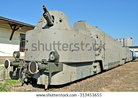 Warsaw, Poland - October 7, 2010: Armoured train displayed at the exhibition of the Railway Museum. A Soviet armoured wagon, rebuilt by Germans in the middle of World War II. - stock photo