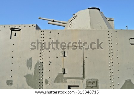 Warsaw, Poland - October 7, 2010: Artillery wagon of an armoured train displayed at the exhibition of the Railway Museum. A Soviet armoured wagon, rebuilt by Germans in the middle of World War II.  - stock photo