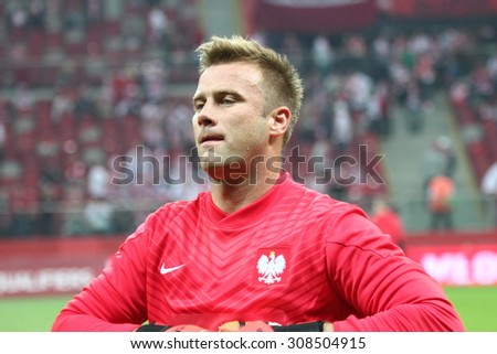 WARSAW, POLAND - OCTOBER 11, 2014: Artur Boruc (Polish team and English club Bournemouth goalkeeper) before the UEFA EURO 2016 qualifying match of Poland vs. Germany. Poland beat Germany 2:0 - stock photo