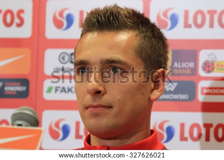 WARSAW, POLAND - OCTOBER 10, 2015: Artur Sobiech (Poland) during press conference before EURO 2016 qualification football match beetween Poland and Republic of Ireland. - stock photo