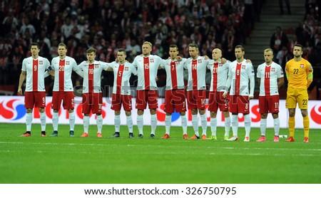 WARSAW, POLAND - OCTOBER 11, 2015: EURO 2016 European Championship Qualifing Round France Poland - Republic of Ireland o/p Robert Lewandowski Lukasz Piszczek Kamil Glik Grzegorz Krychowiak  - stock photo