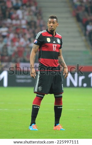 WARSAW, POLAND - OCTOBER 11, 2014: Jerome Boateng in action (German team and Bundesliga club Bayern Munich player) during the UEFA EURO 2016 qualifying match of Poland vs. Germany - stock photo