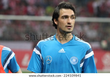 WARSAW, POLAND - OCTOBER 11, 2014: Mats Hummels (German and Borussia Dortmund player) before the UEFA EURO 2016 qualifying match of Poland vs. Germany. Poland beat Germany 2:0 - stock photo