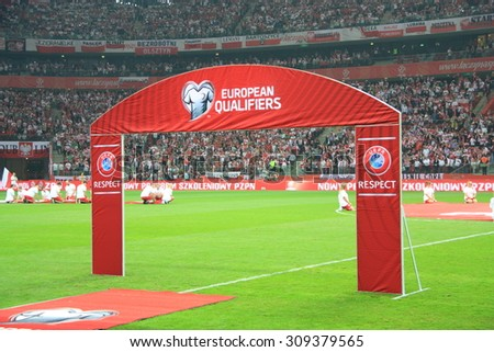 WARSAW, POLAND - OCTOBER 11, 2014: National Stadium in Warsaw before the UEFA EURO 2016 qualifying match of Poland vs. Germany.  - stock photo