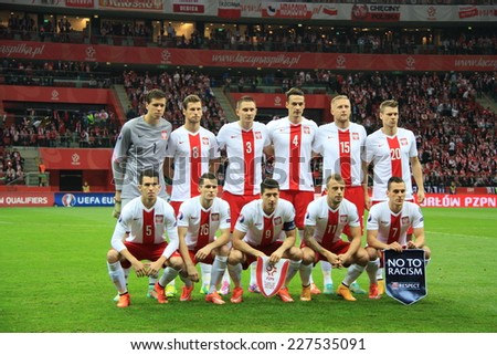 WARSAW, POLAND - OCTOBER 14, 2014: Polish national football team before the UEFA EURO 2016 qualifying match of Poland vs. Scotland. Final results 2:2 - stock photo