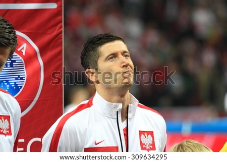 WARSAW, POLAND - OCTOBER 14, 2014: Robert Lewandowski (Polish team and Bundesliga club Bayern Munich) before the UEFA EURO 2016 qualifying match of Poland vs. Scotland. - stock photo