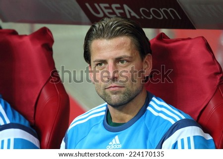 WARSAW, POLAND - OCTOBER 11, 2014: Roman Weidenfeller (German and Borussia Dortmund goalkeeper) before the UEFA EURO 2016 qualifying match of Poland vs. Germany. Poland beat Germany 2:0 - stock photo