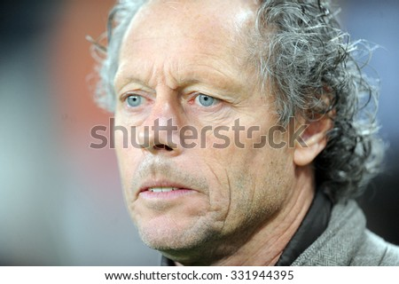 WARSAW, POLAND - OCTOBER 22, 2015: UEFA Europa League group stage Legia Warsaw Club Brugge Belgium o/p: Michael Preud Homme coach