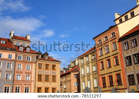 Warsaw, Poland. Old Town - tenements at the main square. UNESCO World Heritage Site.