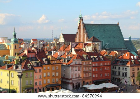 Warsaw, Poland. Old Town - UNESCO World Heritage Site. - stock photo