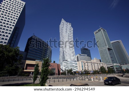 WARSAW, POLAND - SATURDAY, JUNE 6, 2015: A general view of the skyline of Warsaw.   - stock photo