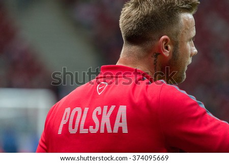 WARSAW, POLAND - SEPTEMBER 7, 2015: Artur Boruc (Poland) before the EURO 2016 qualification match between Poland and Gibraltar at the National Stadium on September 7, 2015 in Warsaw, Poland.  - stock photo