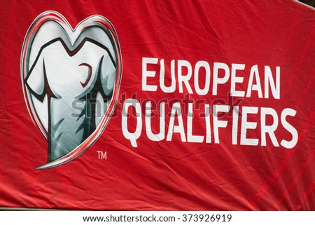 WARSAW, POLAND - SEPTEMBER 7, 2015: European qualifiers flag on the stadium before the UEFA EURO 2016 qualifying match of Poland vs. Gibraltar at the National Stadium in Warsaw, Poland.  - stock photo
