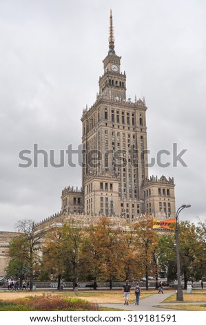 WARSAW, POLAND - SEPTEMBER 02, 2015: Palac Kultury i Nauki meaning Palace of Culture and Science aka PKiN is the tallest building in Poland