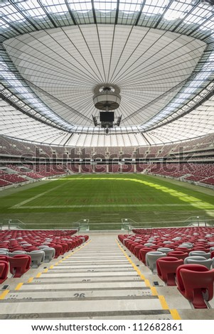 WARSAW, POLAND - SEPTEMBER 05: Presentation of the opening and closing the stadium roof, during Open Day at the National Stadium on September 05, 2012 in Warsaw, Poland.