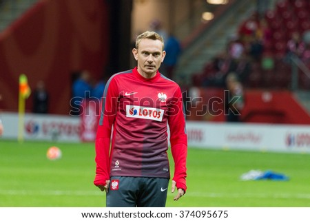 WARSAW, POLAND - SEPTEMBER 7, 2015: Sebastian Mila (Poland) before the EURO 2016 qualification match between Poland and Gibraltar at the National Stadium on September 7, 2015 in Warsaw, Poland.  - stock photo