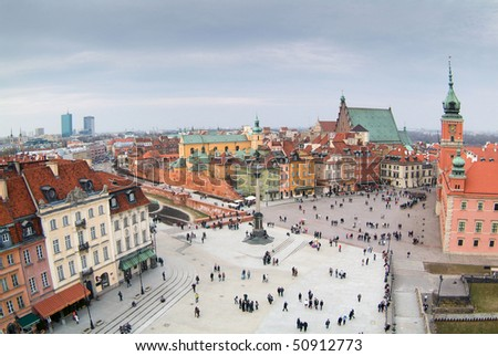 Warsaw's old town seen from the top of viewing terrace. King's Zygmunt square. - stock photo